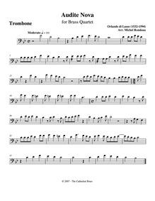 Audite nova : Trombone by Lassus, Orlande de