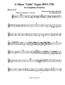 Fugue in G minor (Little Fugue) : Horn Volume BWV 578 ; BC.J66 by Bach, Johann Sebastian