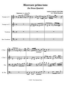 Ricercar del primo tuono : Complete scor... by Gabrieli, Andrea
