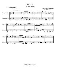 Fünff-stimmigte blasende Music, No.29 : ... by Pezel, Johann Christoph