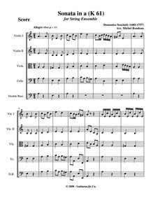 Keyboard Sonata in A minor, K.61 : Compl... Volume K.61 by Scarlatti, Domenico