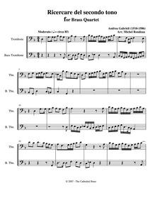 Ricercar del secondo tuono : Trombone 1/... by Gabrieli, Andrea