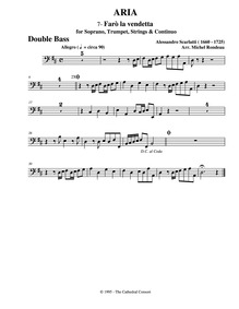 Farò la vendetta (Aria) : Basses by Scarlatti, Alessandro