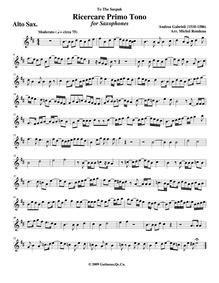 Ricercar del primo tuono : Alto sax by Gabrieli, Andrea