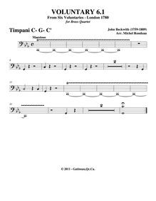 6 Voluntaries for the Organ : Timpani by Beckwith, John