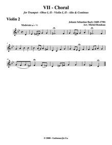 Where Shall I Flee : Violins II Volume BWV 5 ; BC A145 by Bach, Johann Sebastian