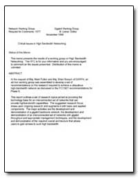 Critical Issues in High Bandwidth Networ... by Leiner, B.