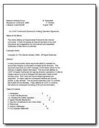 An Ldap Control and Schema for Holding O... by Greenblatt, B.