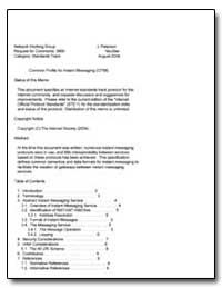 Common Profile for Instant Messaging (Cp... by Peterson, J.