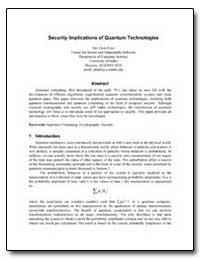 Security Implications of Quantum Technol... by Alves-Foss, Jim