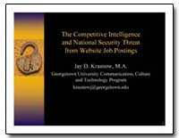 The Competitive Intelligence and Nationa... by Krasnow, Jay D.