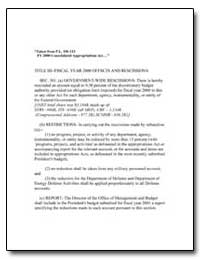 Title Iii--Fiscal Year 2000 Offsets and ... by
