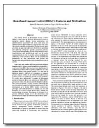 Role Based Access Contro : Features and ... by Ferraiolo, David E