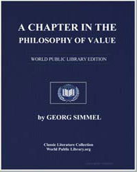 A Chapter in the Philosophy of Value by Simmel, Georg