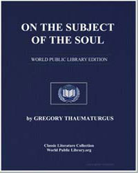 On the Subject of the Soul by Thaumaturgus, Gregory