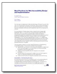Best Practices for Web Accessibility Des... by Foley, Alan, Dr.