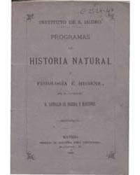Biblioteca Hispanica : Programs of Natur... by Pereda and Martinez, Sandalio of.