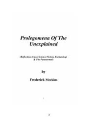 Prolegomena of the Unexplained by Frederick Meekins