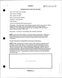 Memorandum for the Record Mfr of the Tsa... by Americas National Archives