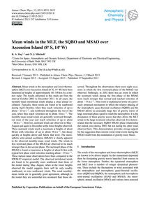 Mean Winds in the Mlt, the Sqbo and Msao... by Day, K. A.