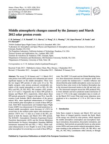 Middle Atmospheric Changes Caused by the... by Jackman, C. H.