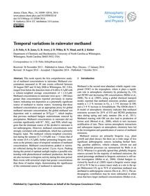 Temporal Variations in Rainwater Methano... by Felix, J. D.