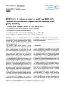 Tno-macc_ii Emission Inventory; a Multi-... by Kuenen, J. J. P.