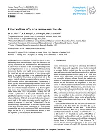 Observations of I2 at a Remote Marine Si... by Lawler, M. J.