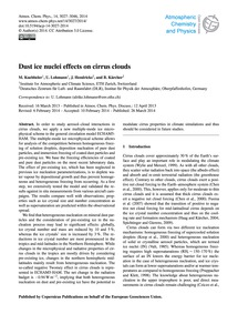Dust Ice Nuclei Effects on Cirrus Clouds... by Kuebbeler, M.