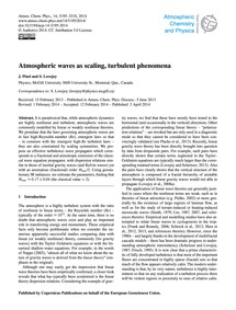 Atmospheric Waves as Scaling, Turbulent ... by Pinel, J.