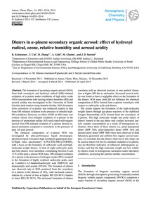 Dimers in Α-pinene Secondary Organic Aer... by Kristensen, K.