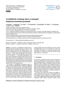 Acetaldehyde Exchange Above a Managed Te... by Hörtnagl, L.