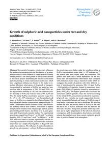Growth of Sulphuric Acid Nanoparticles U... by Skrabalova, L.