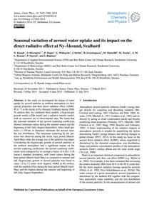 Seasonal Variation of Aerosol Water Upta... by Rastak, N.