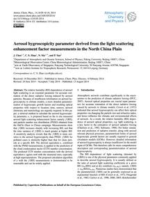 Aerosol Hygroscopicity Parameter Derived... by Chen, J.