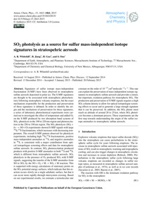So2 Photolysis as a Source for Sulfur Ma... by Whitehill, A. R.