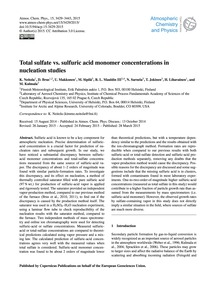 Total Sulfate Vs. Sulfuric Acid Monomer ... by Neitola, K.