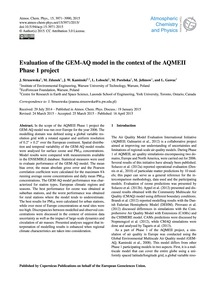 Evaluation of the Gem-aq Model in the Co... by Struzewska, J.