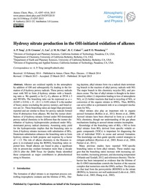 Hydroxy Nitrate Production in the Oh-ini... by Teng, A. P.