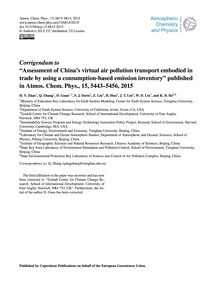 Corrigendum to Assessment of China's Vir... by Zhao, H. Y.