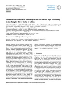 Observations of Relative Humidity Effect... by Zhang, L.