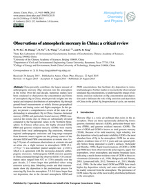 Observations of Atmospheric Mercury in C... by Fu, X. W.