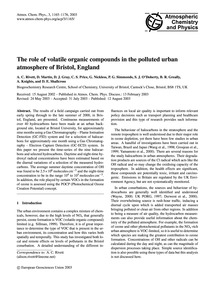 The Role of Volatile Organic Compounds i... by Rivett, A. C.