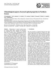 Climatological Aspects of Aerosol Optica... by Gerasopoulos, E.