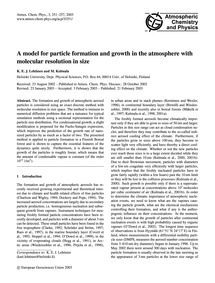 A Model for Particle Formation and Growt... by Lehtinen, K. E. J.