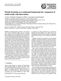 Particle Formation at a Continental Back... by Uhrner, U.