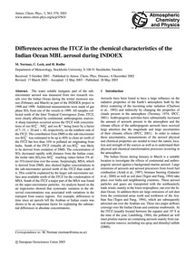 Differences Across the Itcz in the Chemi... by Norman, M.
