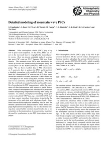 Detailed Modeling of Mountain Wave Pscs ... by Fueglistaler, S.