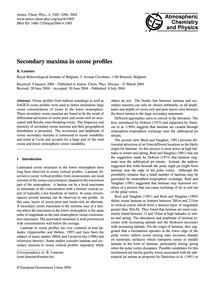 Secondary Maxima in Ozone Profiles : Vol... by Lemoine, R.