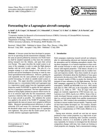 Forecasting for a Lagrangian Aircraft Ca... by Stohl, A.